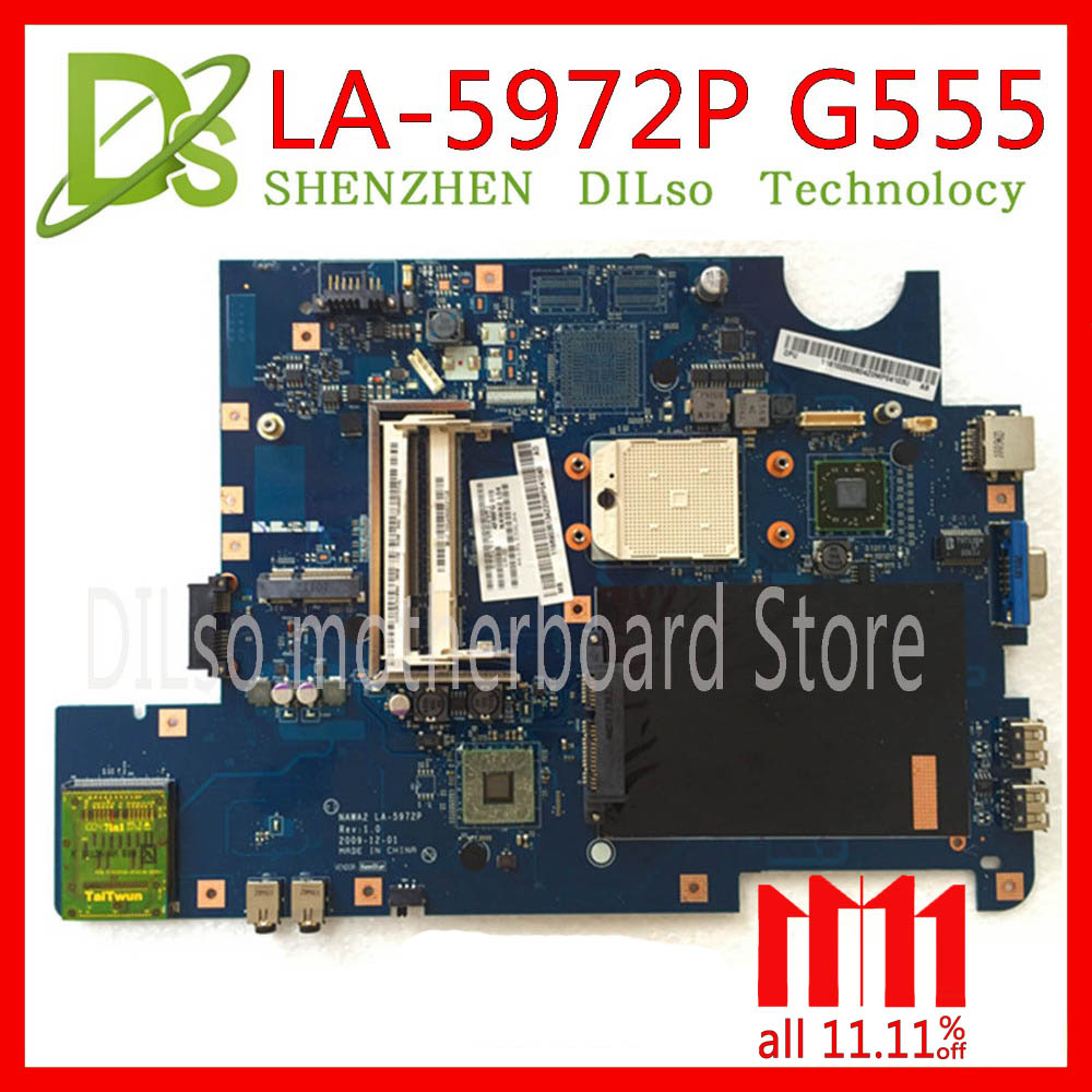 KEFU NAWA2 LA 5972P for lenovo G555 notebook G555 laptop motherboard NAWA2 LA 5972P mainboard PGA989 Test original mothebroard