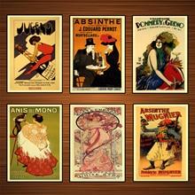 Cartel de vino de bebidas alcohólicas Vintage absinthe Mugnier, pinturas clásicas en lienzo, pósteres de pared, pegatinas para decoración del hogar, regalo