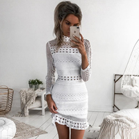 New Vintage Hollow Out Lace Dress Women Elegant Long Sleeve White Dress Summer Chic Party Sexy