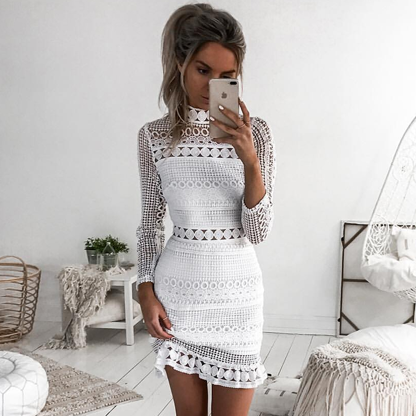 New Vintage hollow out lace dress women Elegant Long sleeve  white dress summer chic party sexy dress vestidos robe Платье