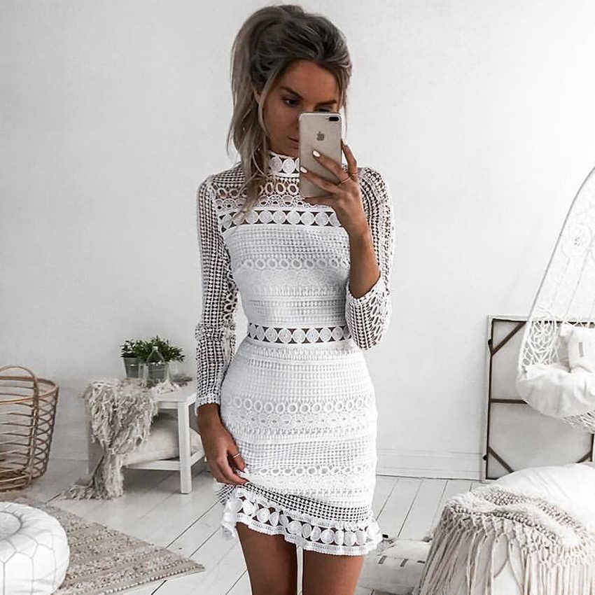 Новое винтажное открытое кружевное платье женское элегантное белое платье с длинным рукавом летнее шикарное сексуальное платье для вечеринки vestidos robe