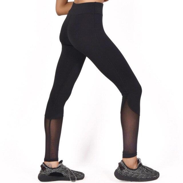4c33514671 Kobieta jogi legging kobiet legginsy czarny mesh patchwork fitness spodnie  dresowe szczupła odzież oddychająca calzas deportivas