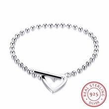 Женский браслет с бусинами в форме сердца из серебра 925 пробы