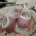 Frete grátis Rosa strass de Bling Do diamante de Cristal Bebê Menina princesa Criança sapatos feitos à mão talão sapatos macios personalizar qualquer nome