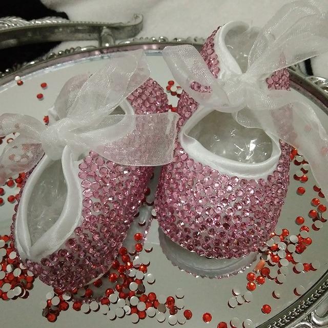 free shipping Pink rhinestone Crystal Baby Girl Child princess shoes handmade Bling diamond bead soft shoes customize any name