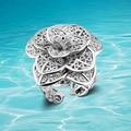 Sólido 925 sterling silver anéis de moda de nova ms peônia anel de flor, Anel abertura pode ser ajustado. Moda atmosfera