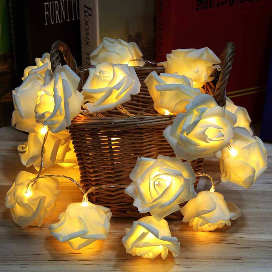 White Rose LED String Battery Powered Night Strip Night Indoor HoME Valenties Day Wedding Party Fairy Propose Decoration