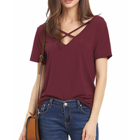 Summer Women Backless Front Cross Loose Casual Cotton T Shirts Short Sleeve V Neck Tops Sexy