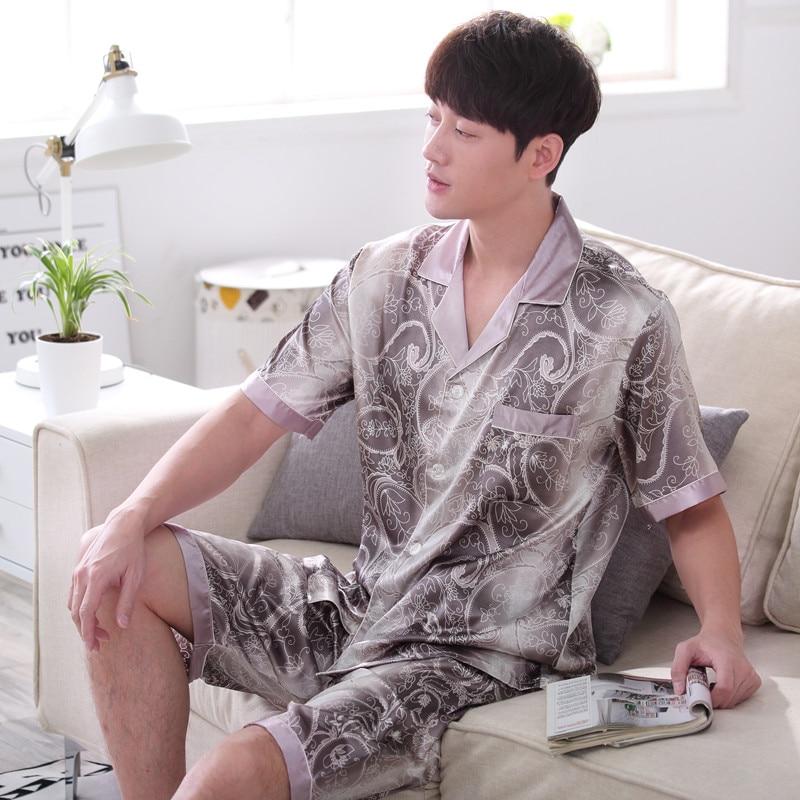 2017 summer red men silk pajamas set chinese traditional pyjamas suit sleepwear bath gown