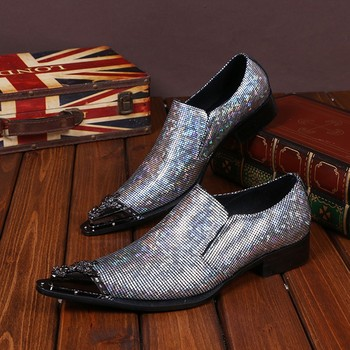 CH.KWOK Metal Pointed Toe Party Shoes Men Silver Glitter Mixed Color Shiny Oxford Shoes Slip On Chaussure Homme