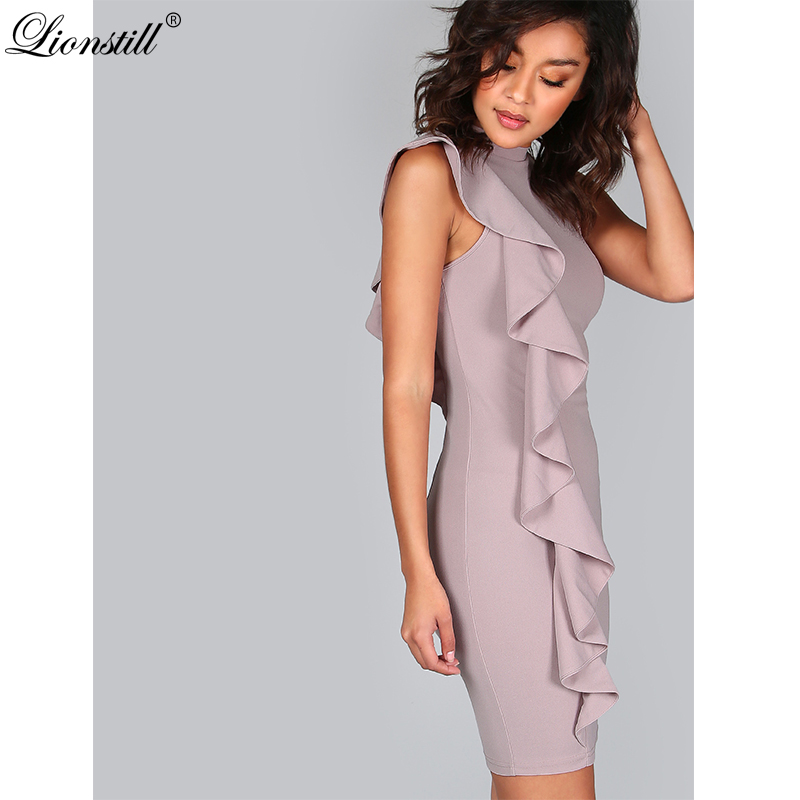 4c7d11c2f17 Online Shop LIONSTILL Lavender Summer Dress Women One Sided Exaggerated  Frill Sexy Bodycon Dresses Fashion High Neck Elegant Party Dress