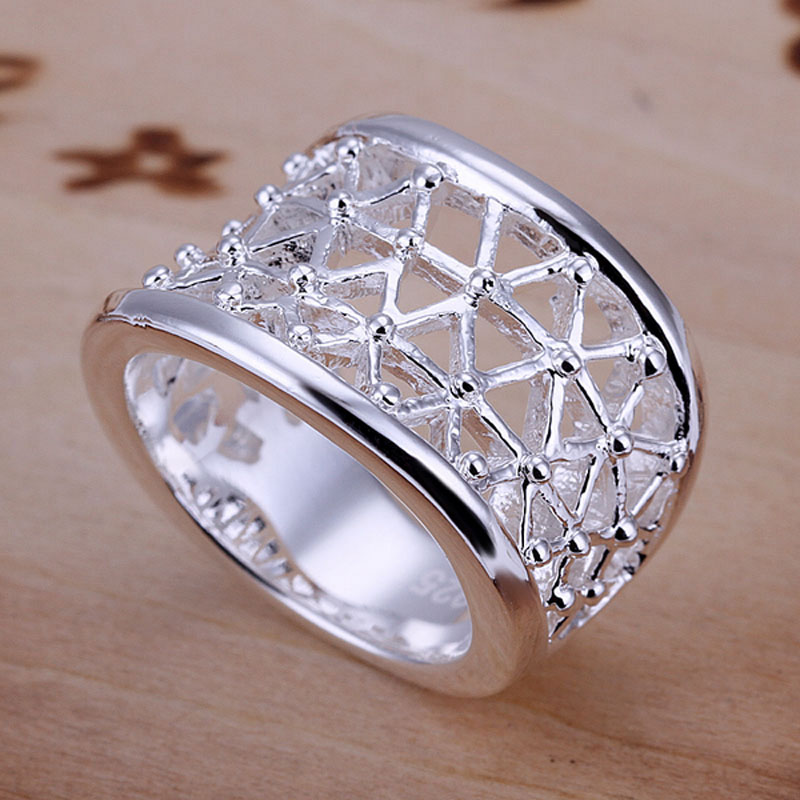 Ring Silver Plated Ring Silver fashion jewelry ring hollow jewelry wholesale free shipping wwew LR032-8