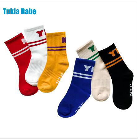 Children's Socks Wholesale Tide Kids Boys Girls 2019 Years New Left And Right Foot Sports Letters Cotton Socks