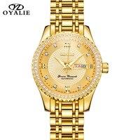 Comprar Reloj de pulsera mecánico automático de oro de marca de lujo para mujer, relojes de pulsera de Tourbillon para mujer con fecha automática y resistente al agua
