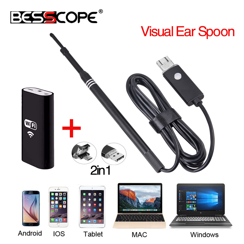 WIFI Wireless Android OTG USB Otoscope Camera Ear Health Care Inspection Video Endoscope Camera Visual Earpick Clean View Tools ddes04 wifi 5 5mm lens ear nose medical usb endoscope borescope inspection otoscope camera for ios android pc