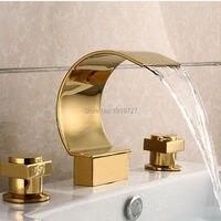 100% латуни Заводские золото pvb Цвет 3 шт. двойной Ручки Широкое Ванная комната смеситель для душа Ванна Туалет смесителя
