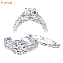 Newshe 2 Pcs Wedding Ring Set For Women Classic Jewelry 925 Sterling Silver Engagement Rings 2Ct Round White AAA CZ QR104425