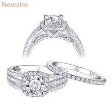 Newshe 2 sztuk ślub pierścień zestaw dla kobiet klasyczna biżuteria 925 srebro pierścionki zaręczynowe 2Ct okrągły biały AAA CZ QR104425