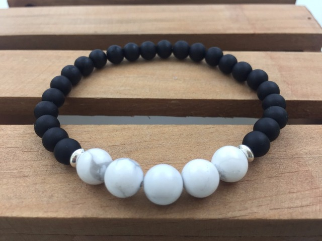 Natural Stone Bracelets 6mm Black Onyx White Howlite Bracelet Yoga Mala Beads Meditation Sport