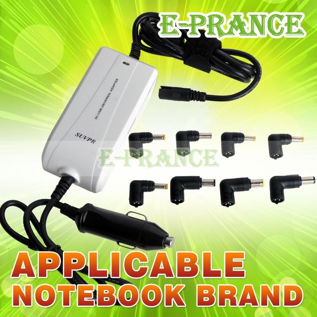 8 adapter to many machine HIgh quality  SUVPR 90W Universal Laptop Power Adapter Standard Car Cigarette Plug Type free shipping