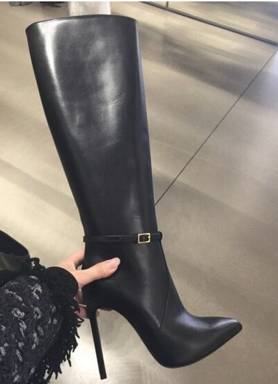 2015 brand women leather pointed toe thin heel knee high boots black leather  stilleto tall boots M117 cac950f03