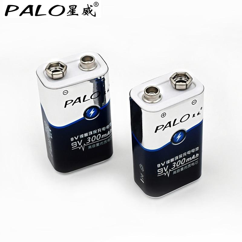 2 stücke batterie teile palo 9 v batterien 6F22 Single-sex trocken 9 v batterie ni mh 300 mah akku für radio kamera spielzeug etc