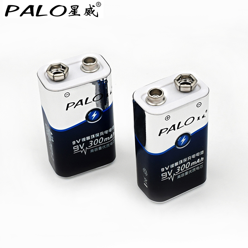 2pcs battery parts palo 9v batteries 6F22 Single-sex dry 9 v battery ni mh 300mah rechargeable battery for radio camera toys etc
