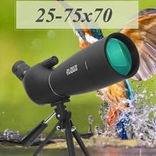 25-75X70 Zoom luneta teleskop wodoodporny Birdwatch lornetka na polowania ze statywem teleskop astronomiczny tanie tanio KANDAR BAK4 2 8-0 93mm FMC Multilayer broadband green film 866g 15mm 19mm