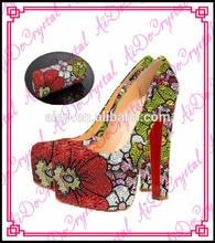 Aidocrystal Handmade colorful flower crystal high heel pumps party shoe and bag set
