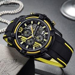 Megir Men's Black Silicone Strap Quartz Watches Chronograph Sports Wristwatch for Man 3atm Waterproof Luminous Hands 2097 Yellow