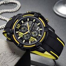 Megir Mannen Zwarte Siliconen Band Quartz Horloges Chronograaf Sport Horloge Voor Man 3atm Waterdichte Lichtgevende Handen 2097 Geel