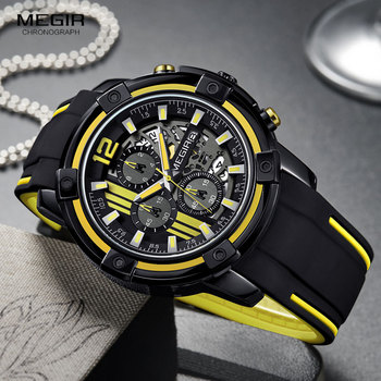 Черные мужские кварцевые часы Megir