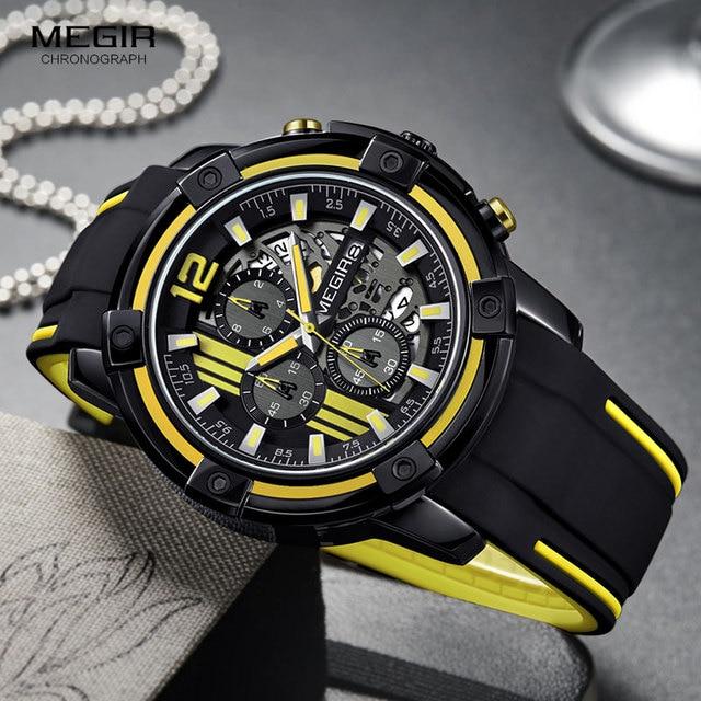 Megir мужские черные кварцевые часы с силиконовым ремешком, спортивные наручные часы с хронографом для мужчин 3 АТМ, водонепроницаемые светящиеся стрелки 2097 желтого цвета