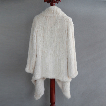 FREE SHIPPING  100% Real Knitted Rabbit Fur Coat , Natural Rabbit  Fur Jacket European Style Thick KinttedColor No. SU-16020 2
