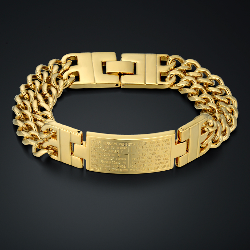 Unique Double Cuban Chain Link Bracelet Punk Male Gold Color Cross - Fashion Jewelry - Photo 1