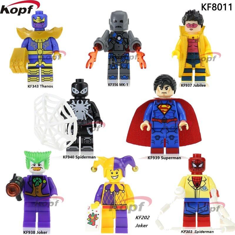 Single Sale Super Heroes Thanos Spider-man Joker Harley Quinn MK-1 Jubilee Superman Building Blocks Toys For Children KF8011