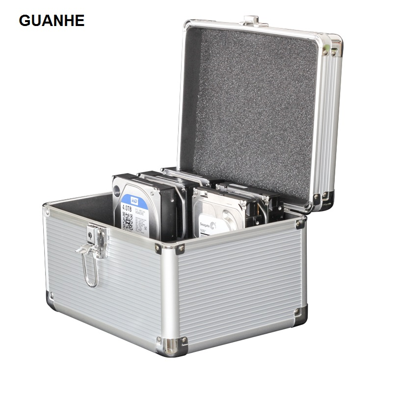 GUANHE 10-Bay 3.5-inch SSD/HDD Hard Drive Protective Storage Carrying Box Aluminum bsc35 05 3 5 inch shockproof carrying hard drive protective storage case box with lock 5 bit aluminum hard disk protection box