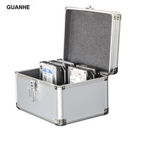 GUANHE 10 Bay 3 5 Inch SSD HDD Hard Drive Protective Storage Carrying Box Aluminum