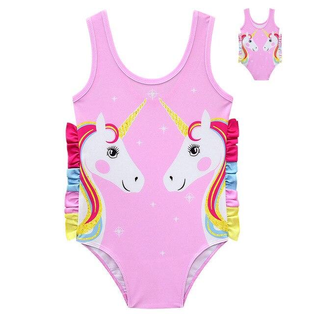 acheter en ligne 9eebe d2180 2019 bébé fille 17 dessins poupée licorne maillot de bain dessin animé  mignon baignade enfants maillots Bikini plage robe porter