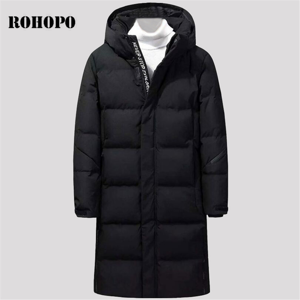 ROHOPO   Down     Coat   Man Knee Length long   down   jacket men,Wide waist sportswear keep warm long   down     coat   military man white/black