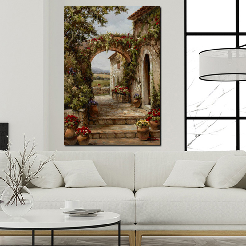 Abstract Pastoral House Flowers Door Landscape Oil Painting HD Print on Canvas Garden Poster Wall Art Picture for Livinng Room (4)