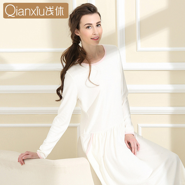 Women nightdress bamboo fiber clothing women's long sleeve O-neck Soft Comfortable casual autumn Homewear  Hiver Pyjama Femme