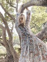 Для женщин с цветочным принтом Окрашенные Сердце рюшами платье миди Floral print Ruffle trim шелковое платье
