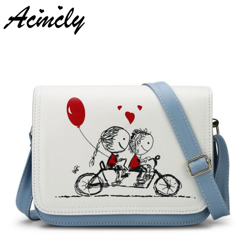 2018 New Cartoon Printing Women Bag Female PU leather Mini Cross-body Shoulder Bags Girls Messenger Bag Casual Ladies Bag a651/o nucelle women split leather messenger bags ladies fashion chain mini cross body bags female flap shoulder bags for phone nz5902