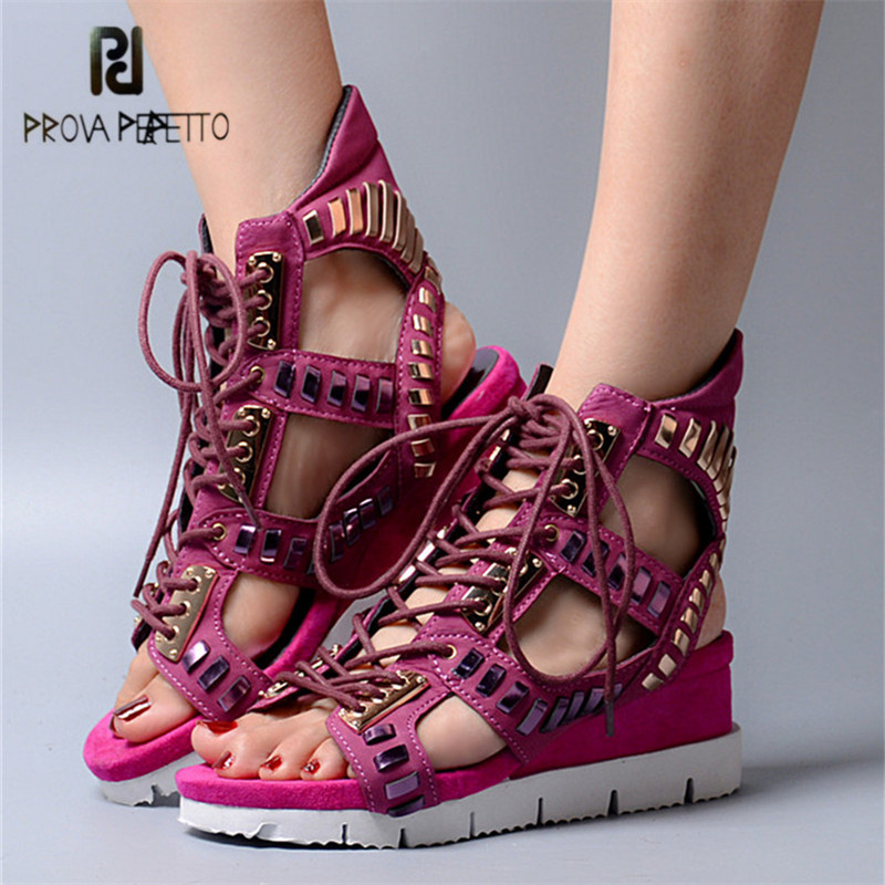Prova Perfetto Hollow Out Women Sandals Gladiator Wedge Sandal Lace Up Platform Summer Boots Women Pumps Ladies Shoes недорго, оригинальная цена