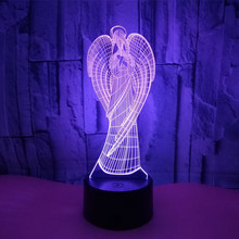 Colorful Touch Led Night Light 3d Illusion USB Atmosphere Table Lamp for Children Baby Kids Gift Bedside Bedroom Angel