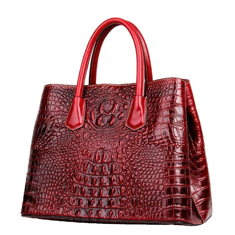 Crocodile Pattern Genuine Leather Women Bag\Handbag Luxury 100% Fashion Retro ladies' Shoulder Bag Embossed Messenger bag ~18B29 genuine leather bag women bag fashion crocodile pattern shoulder messenger bag retro handbag diana package
