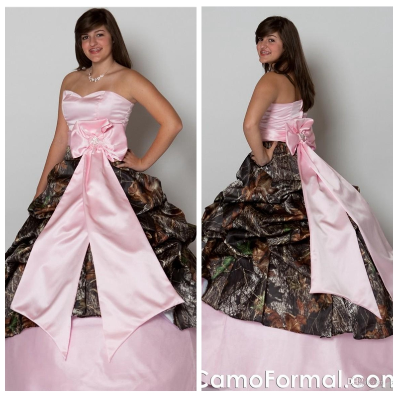 US $190.0 |Aliexpress.com : Buy Custom Made Plus Size Pink Satin Camo  Wedding Dress Ball Gowns With Bowknot Adorned Bridal Gowns Custom Online ...