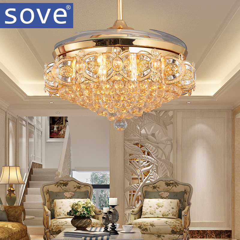 52inch LED Crystal chandelier fan lights living room modern fan with remote control ventilateur plafonnier ventilador de techo remote control fan chandelier home mute living room solid wood fan chandelier lights american antique retro chinese lights fan