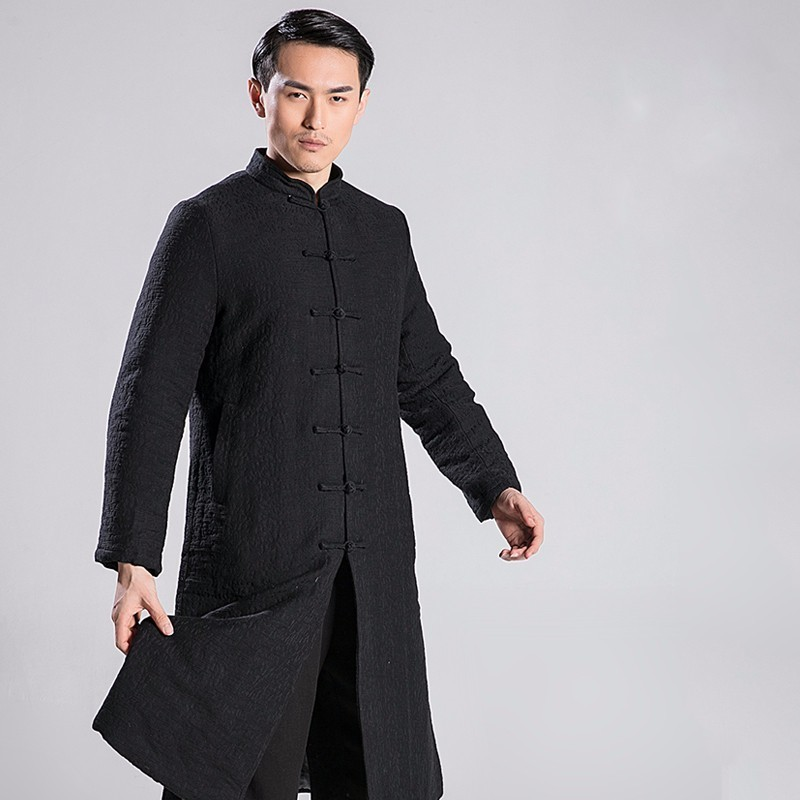 Autumn And Winter  Tai Chi Robe  Linen Thickening Increase Cotton Kung Fu  Overcoat  Male Only Top